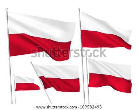 Poland vector flags. A set of 5 wavy 3D flags created using gradient meshes. - stock vector