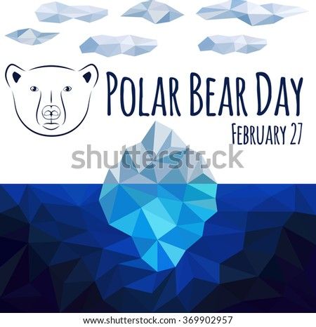 Polar bear day, greeting card. Vector illustration - stock vector