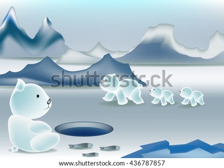 Polar Bear Family vector. - stock vector