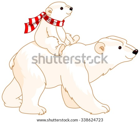 Polar Bear mom and baby riding on her back - stock vector
