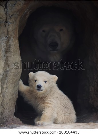Polar bear mother and her little baby are looking into your eyes. First look at the world of the young wild animal, which is going to be the most dangerous beast. Vector image in oil painting style. - stock vector