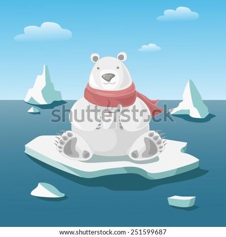 Polar bear on floe holds a mug with hot coffee. Vector copy - stock vector