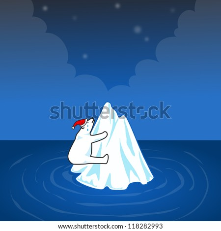 Polar bear on small iceberg in christmas night. - stock vector