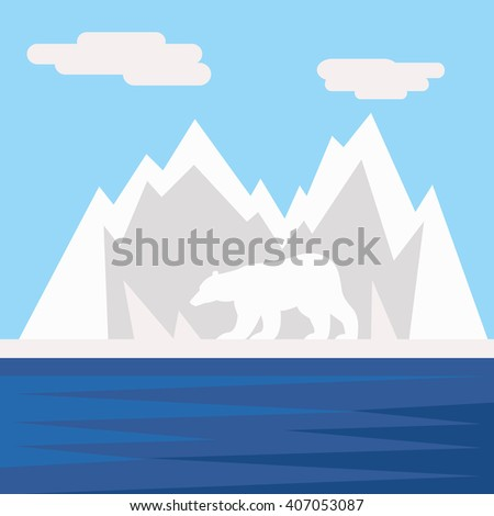 Polar bear on the arctic ice, nature conservation or logo vector concept - stock vector