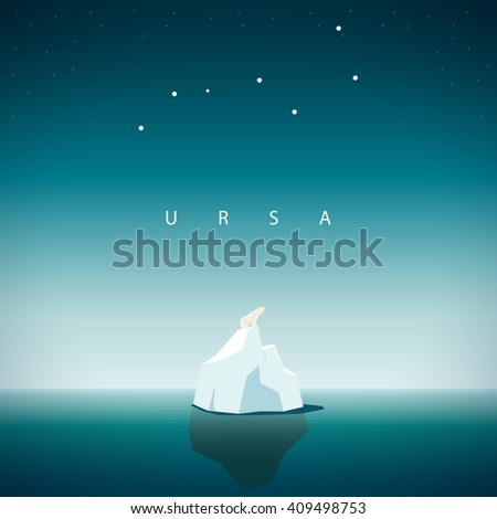 Polar bear sits on the iceberg and looks at the constellation URSA major - stock vector