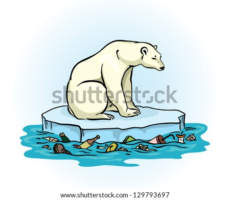 Polar bear sitting on a melting ice in a midst of polluted sea. Global pollution problem. - stock vector