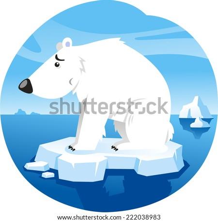 Polar Bear Standing Worried over climate change On Ice Vector Illustration Cartoon. - stock vector