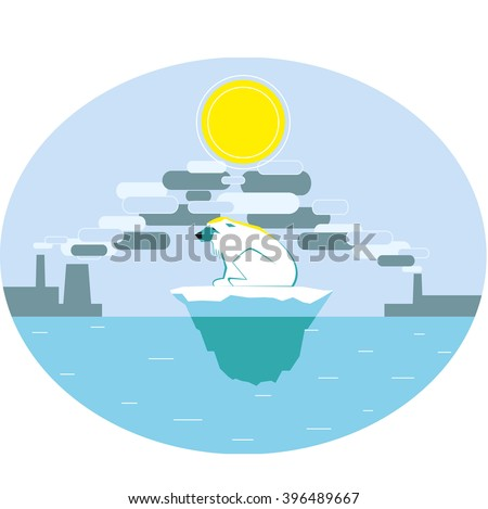 Polar bear suffering of global warming. The harm of industrial pollution. Greenhouse effect. Vector illustration. - stock vector