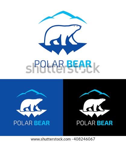 Polar bear vector design logo template. Symbol of a polar bear walking on a glacier in the background of the mountains. - stock vector
