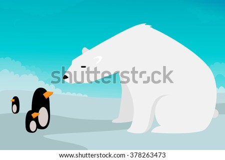 Polar bear vs Penguins vector illustration - stock vector