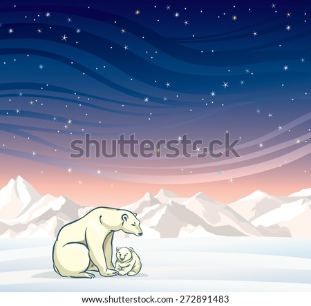 Polar bear with baby on a night starry sky. Nature vector winter landscape. - stock vector