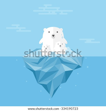 Polar Bear with Global Warming.. - stock vector