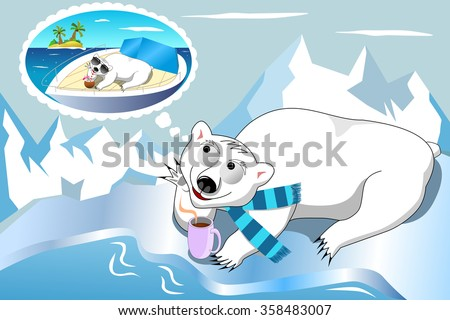 Polar bear with scarf having hot drink and daydreaming tropical sea holiday - stock vector