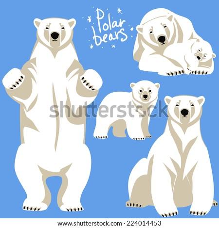 Polar Bears collection.  - stock vector