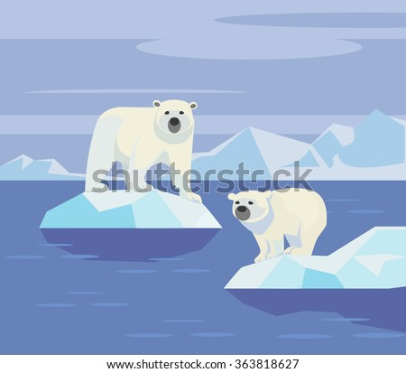 Polar bears. Vector flat illustration - stock vector
