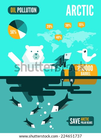 Polar bears with dead fishes and oil tank in polluted ocean infographics.  flat design element. vector illustration - stock vector