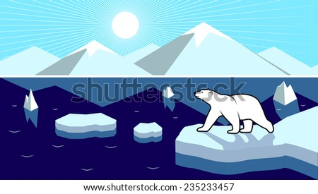 Polar landscape panorama  - stock vector