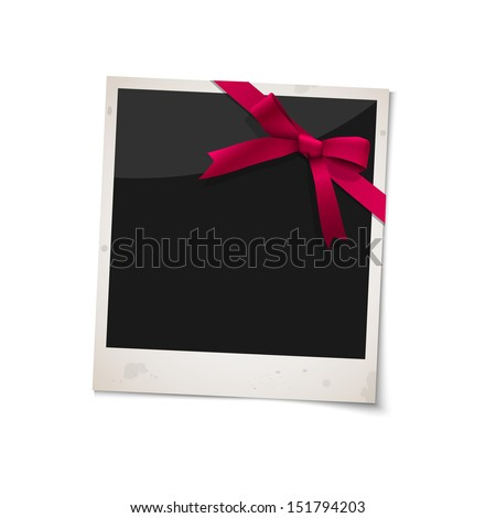 Polaroid photo frame with bow red ribbon. Vector EPS10 - stock vector