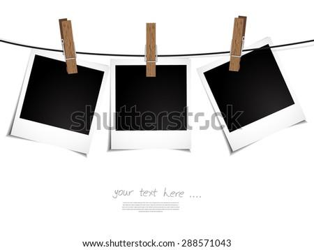 Polaroid Photo Frames on Rope. Illustration on white background - stock vector