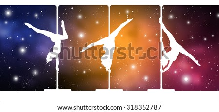 Pole Dance in the Space. Silhouettes of female pole dancers performing pole moves on galactic background. - stock vector