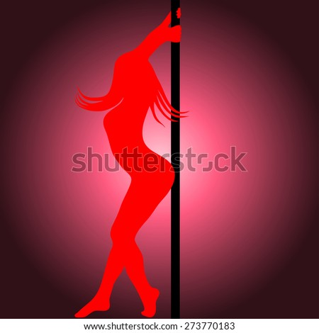 Pole dancer sexy silhouette. Vector illustration - stock vector