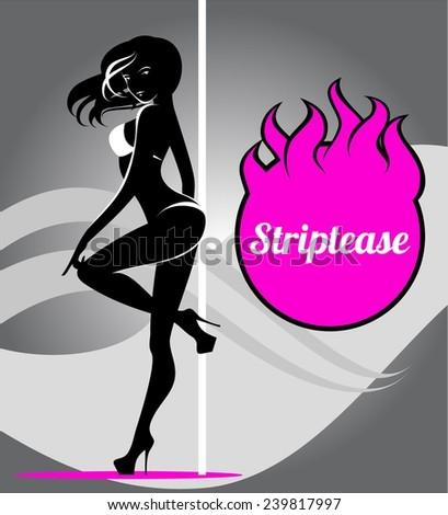 Pole dancer, striptease - stock vector