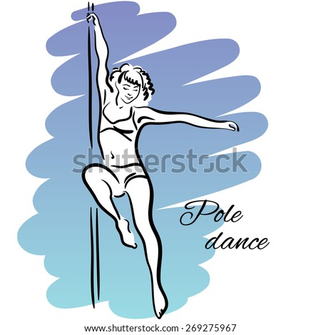 Pole dancer with long hair hanging on the pole on the blue & violet background. - stock vector
