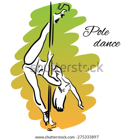 Pole dancer with long hair hanging on the pole upside down on the colored background. - stock vector