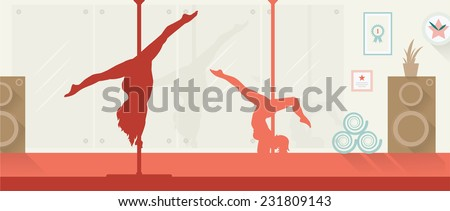 Pole dancers in pole dance studio flat style. - stock vector