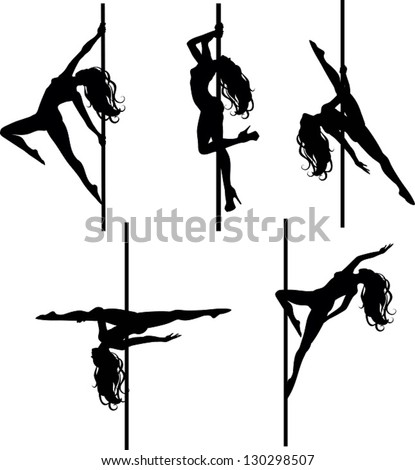 Pole dancers silhouettes. The vector illustration of five pole dancers silhouettes in different positions. - stock vector