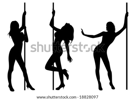 Pole dancers. The three sexy pole dancers - stock vector