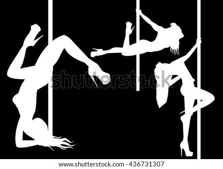 pole girl illustration dancer strip vector stripper - stock vector
