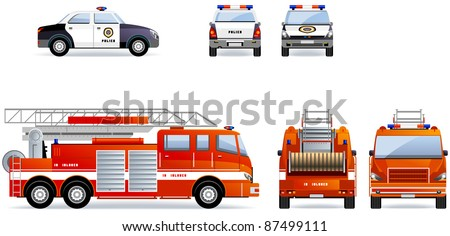 Police and fire truck.