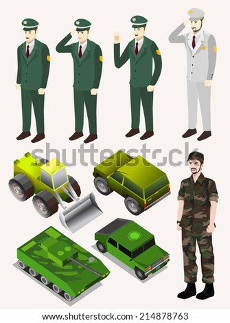 police, army, soldier, with green vehicle. people and car isometric vector - stock vector