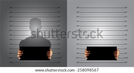 Police background measuring lines mugshot in US standard and banner on two hands, vector  - stock vector