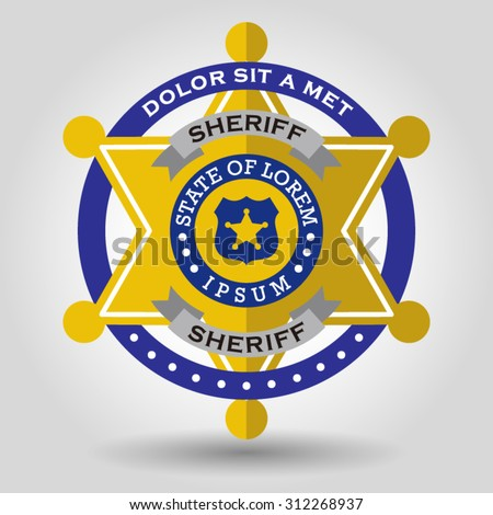 police badge with a star shape six. Vector illustration - stock vector
