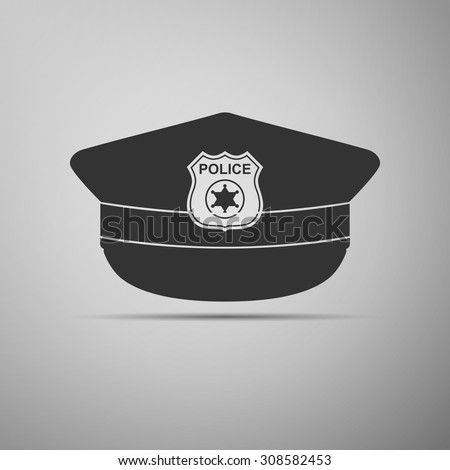 Police cap icon on grey background. Vector Illustration - stock vector