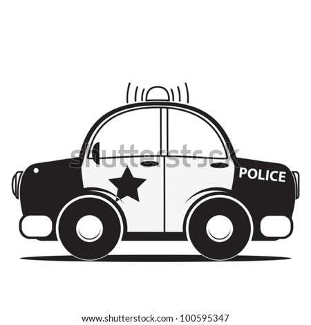 Police car silhouette. Vector illustration - stock vector