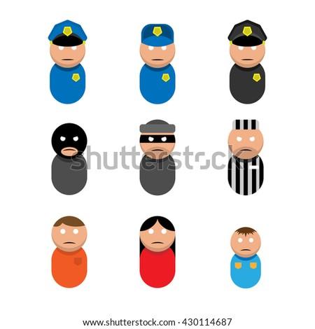 Police criminals victim - stock vector