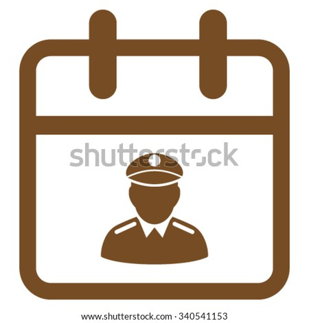 Police Date vector icon. Style is flat symbol, brown color, rounded angles, white background. - stock vector
