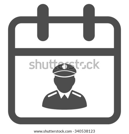 Police Date vector icon. Style is flat symbol, gray color, rounded angles, white background. - stock vector