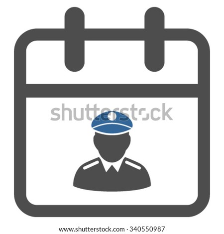 Police Day vector icon. Style is bicolor flat symbol, cobalt and gray colors, rounded angles, white background. - stock vector