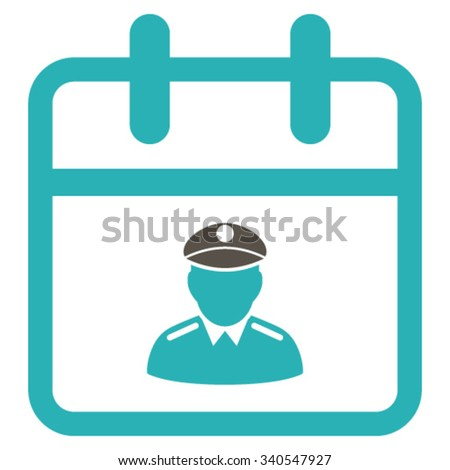 Police Day vector icon. Style is bicolor flat symbol, grey and cyan colors, rounded angles, white background. - stock vector