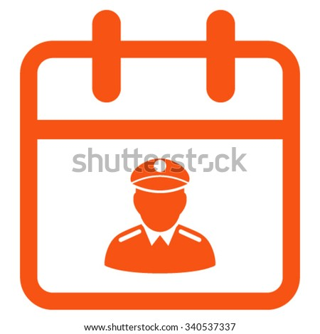 Police Day vector icon. Style is flat symbol, orange color, rounded angles, white background. - stock vector