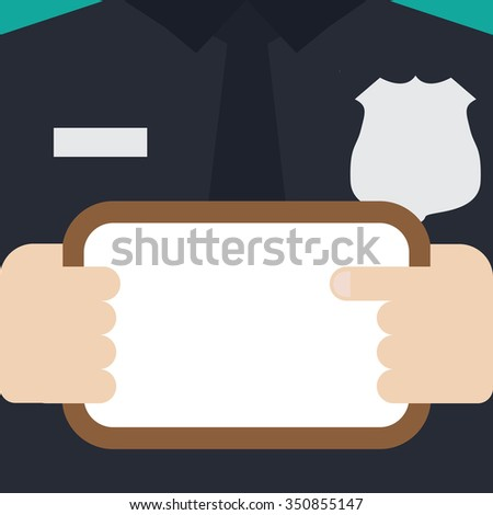 Police holding blank whiteboard. - stock vector