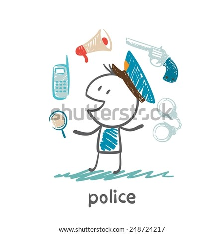 police illustration - stock vector