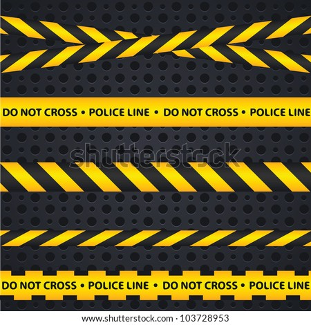 Police line and danger tapes on dark background - stock vector