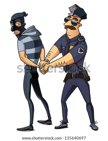 police man in the black uniform caught the criminal. police officer arrested thief - stock vector