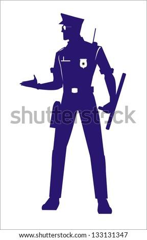Police Officer, full body silhouette - stock vector