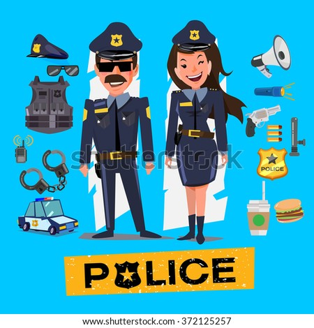 Police officers. Man and woman with icon set. Character design - vector illustration - stock vector